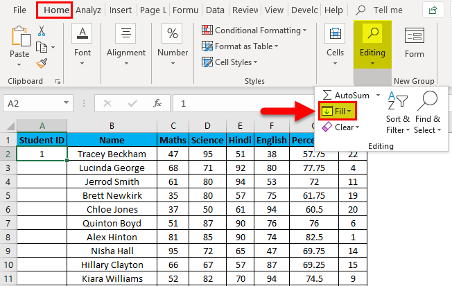 Numbering in Excel Example 2-3