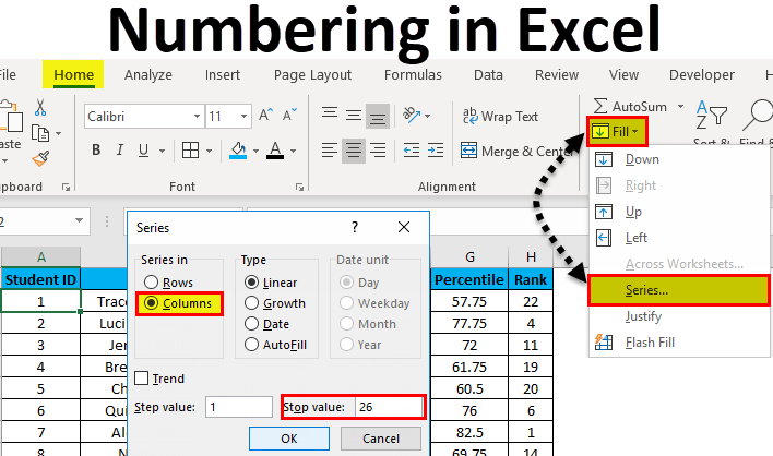 Numbering in Excel