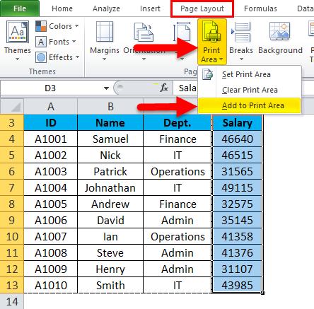 Print Area Example 1-7