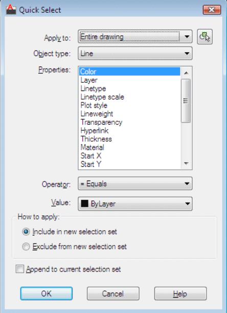 AutoCAD Commands - QSELECT