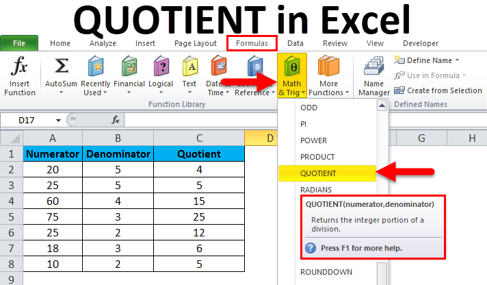 QUOTIENT in Excel
