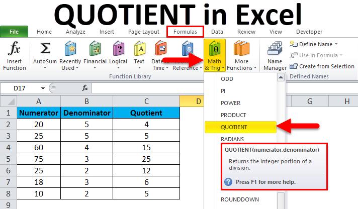 QUOTIENT in Excel