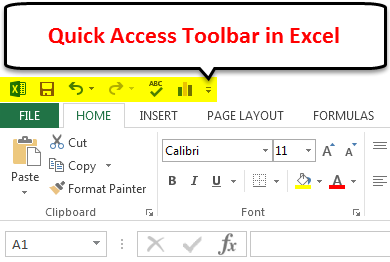 Quick Access Toolbar in Excel 1