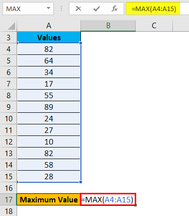 Range in Excel Example 2-2
