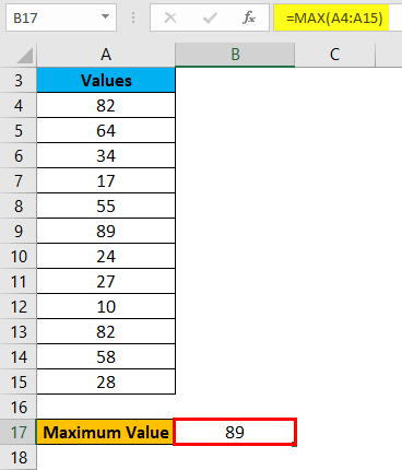 Range in Excel Example 2-3