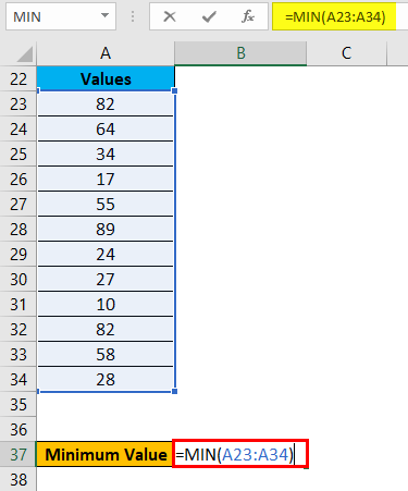 Range in Excel Example 3-2