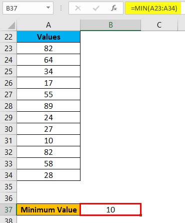 Range in Excel Example 3-3