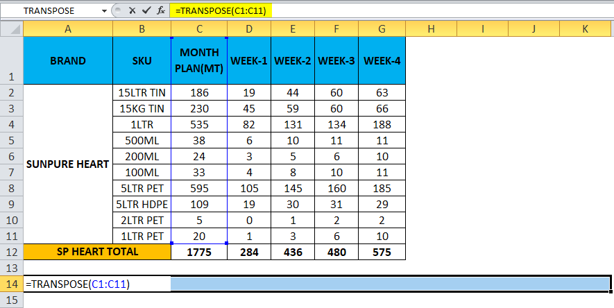 Rows to Columns Example 3-2