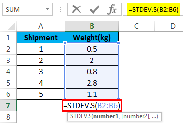 STDEV function example 2.2