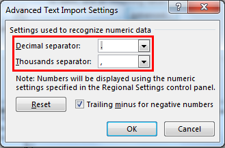 Separate text in Excel 13