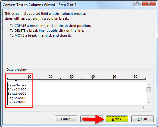 Separate text in Excel example 2.6