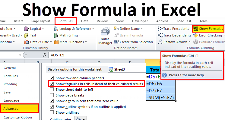 Show Formula in Excel
