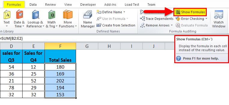 Show Formulas in MS Excel 1-4