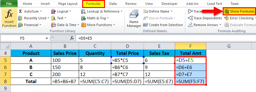 Show Formulas in MS Excel 2-3
