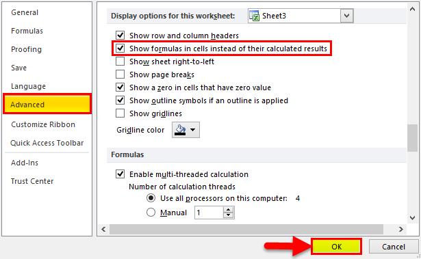 Show Formulas in MS Excel 2-6
