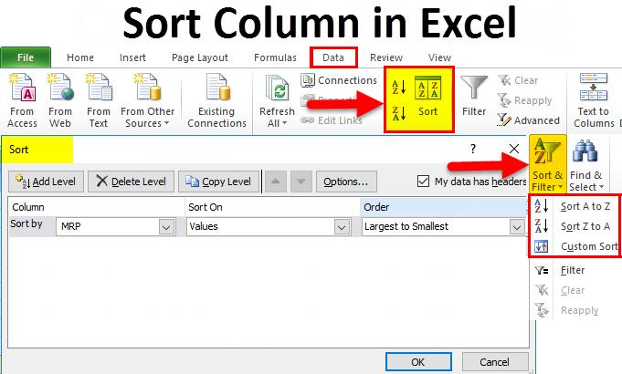 Sort Column in Excel