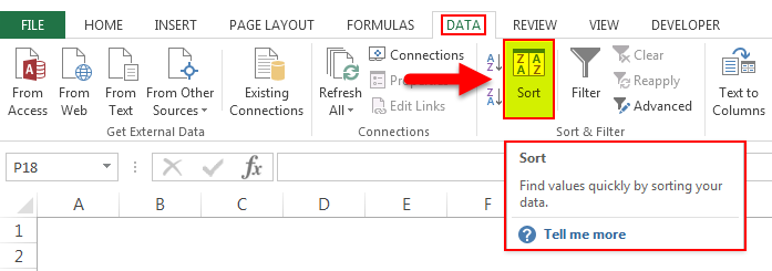 Sort by color in Excel 1