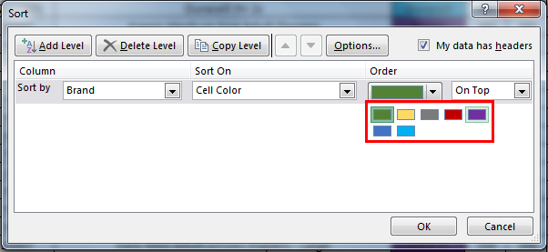 Sort by color in example 1.6