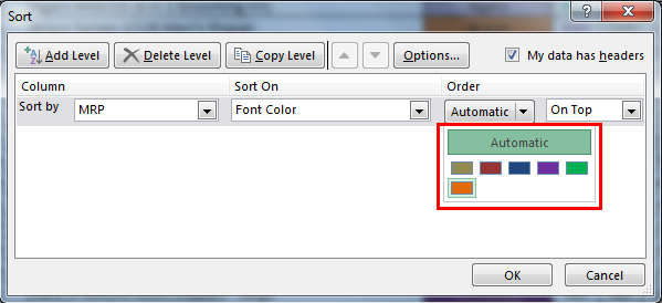 Sort by color in example 2.6