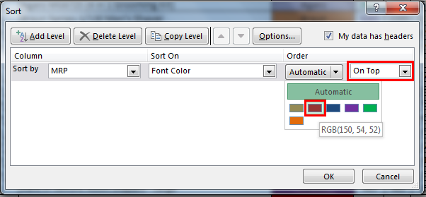 Sort by color in example 2.7
