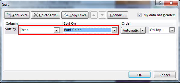 Sort by color in example 3.3