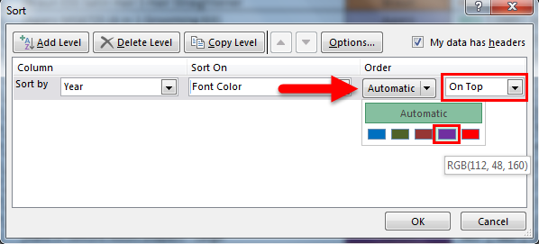 Sort by color in example 3.4