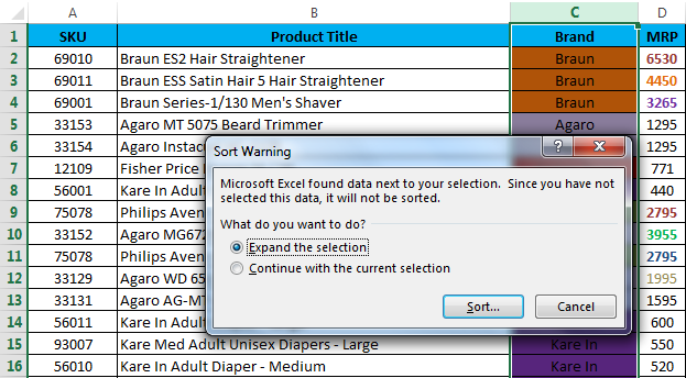 Sort by color in example 4.1