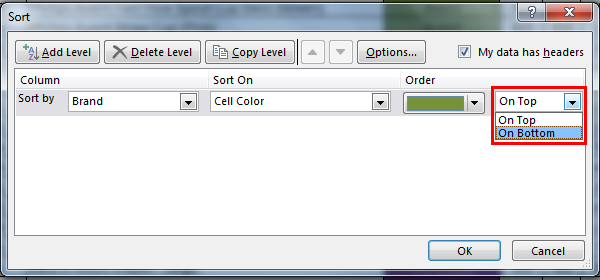 Sort by color in example 5.2