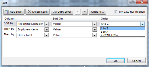 Sorting in excel 11