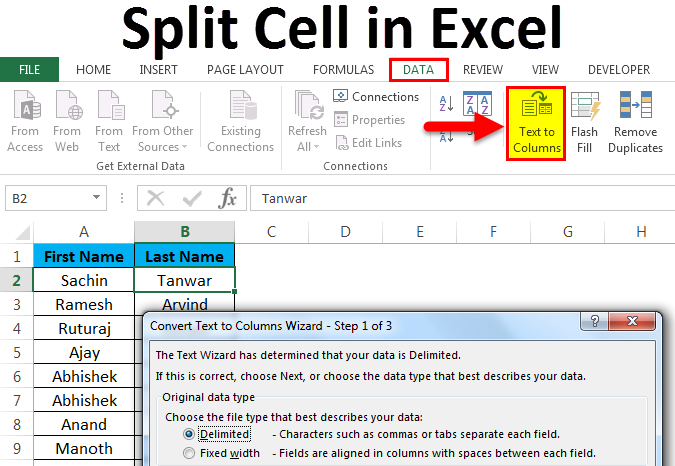 Split cell in excel