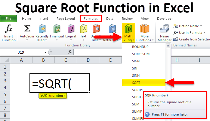 Square Root Function in Excel