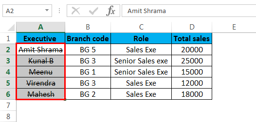 Strikethrough in Excel(Effects)