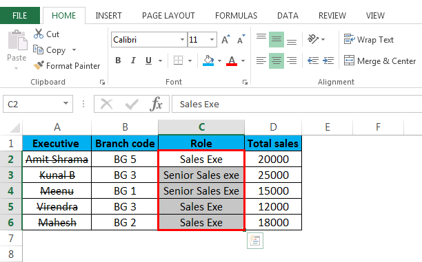 Strikethrough in Excel (Role column)