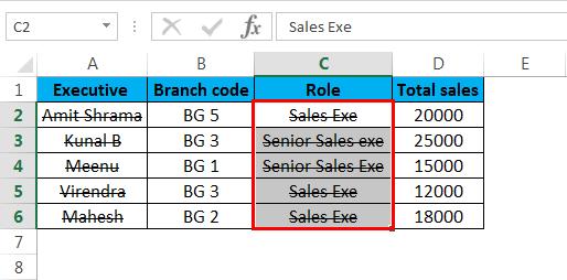 Strikethrough in Excel 2.4