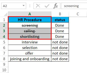 Strikethrough in Excel 3.2