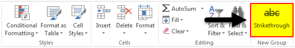 Strikethrough in Excel 4.5
