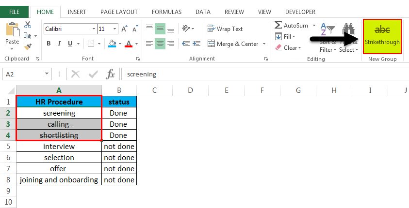 Strikethrough in Excel 4.6