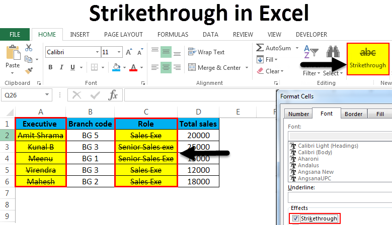 Strikethrough in Excel
