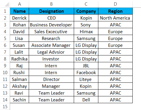 Table styles in Excel - Data