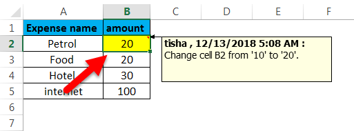 Track changes in Excel(will get listed)