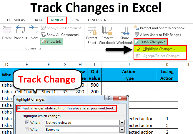Track changes in Excel