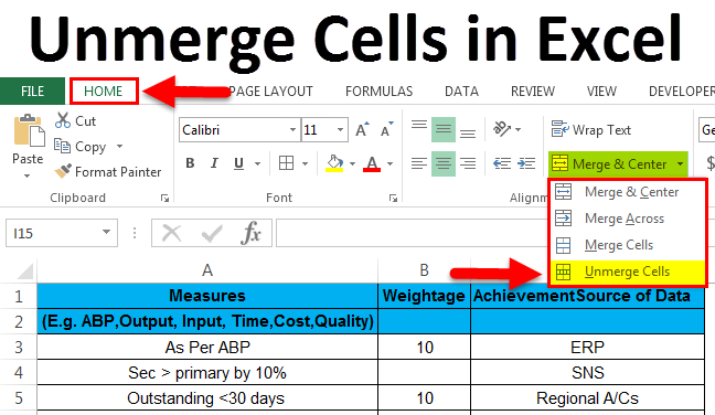 Unmerging the Cells in Excel