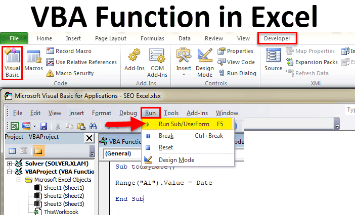 VBA Function in Excel