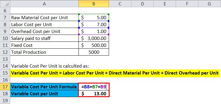 Variable Cost Per Unit Example 1-2