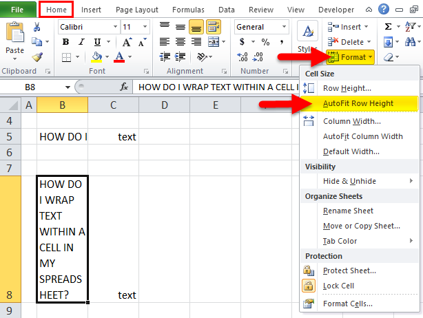 how to unwrap text in excel