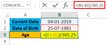 calculate age in excel example 1.2