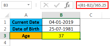 calculate age in excel example 1.3