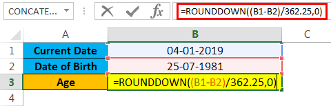 calculate age in excel example 1.4