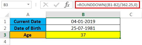 calculate age in excel example 1.5