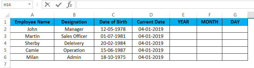 calculate age in excel example 2.1